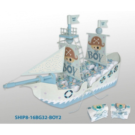 Support dragées Baptême bateau pirate