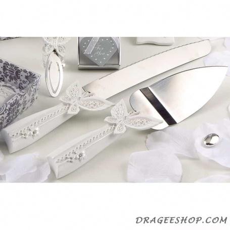 Set couteaux pour gâteau papillons