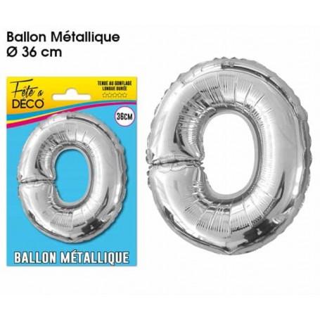 Ballon lettre- O- argenté métallique