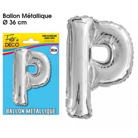 Ballon lettre- P- argenté métalique