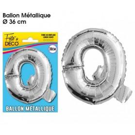 Ballon lettre- Q- argenté métallique