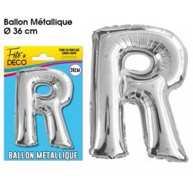 Ballon lettre- R- argenté métallique
