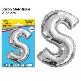 Ballon lettre- S- argenté métallique