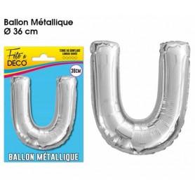 Ballon lettre- U- argenté métallique