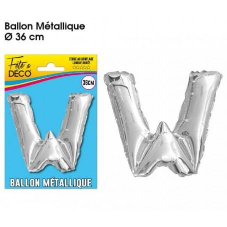 Ballon lettre- W- argenté métallique