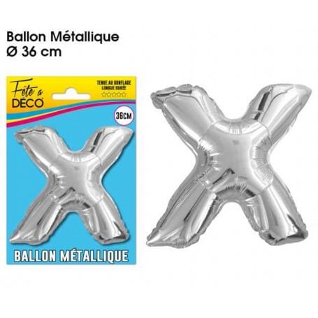 Ballon lettre- X- argenté métallique