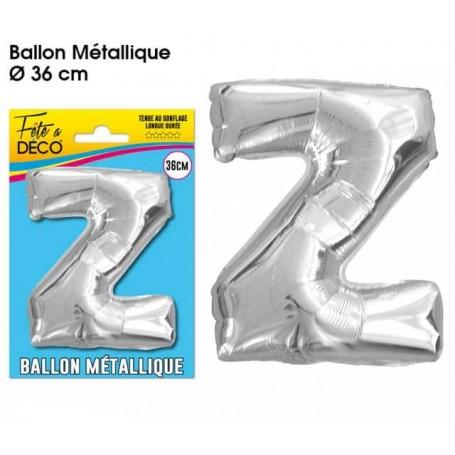 Ballon lettre- Z- argenté métallique