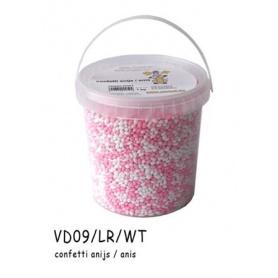 Dragées confettis anis Blanc-Rose-1kg